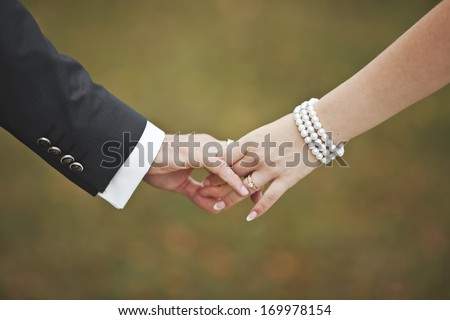 Groom and bride holding hands, wedding picture. - stock photo