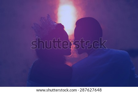groom and bride in love emotion romantic moment on the beach, Blurred Defocus Background - stock photo