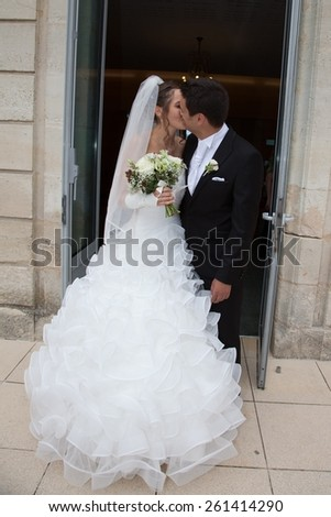 Groom and bride in white dress