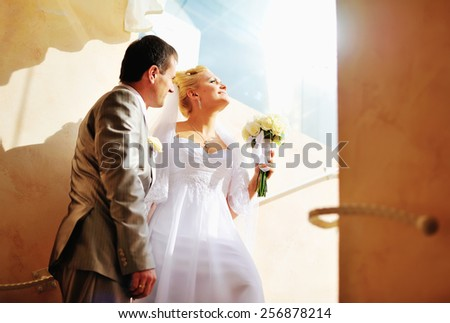 Groom and bride on wedding day. Newlywed couple together.  - stock photo