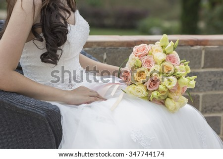 Groom and bride together. Wedding couple used as background illustration - stock photo