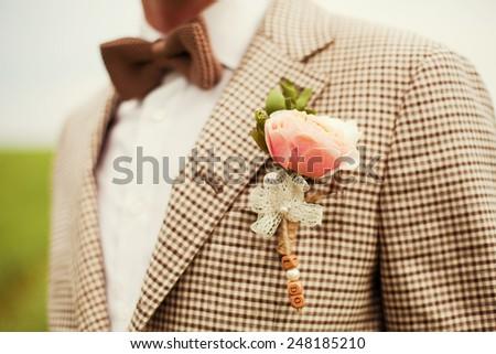 groom in the wedding suit - stock photo