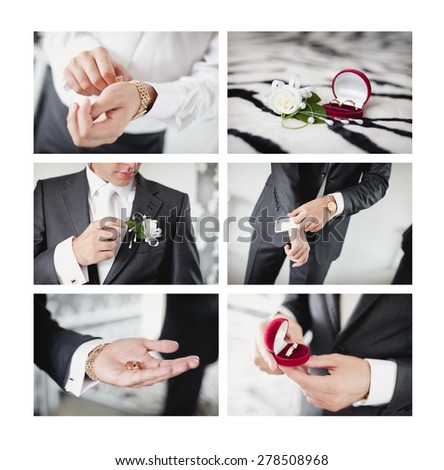 Groom's morning. Wedding accessories in black, white and red colors - stock photo