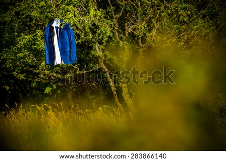 Groom suit hanging from a tree - stock photo