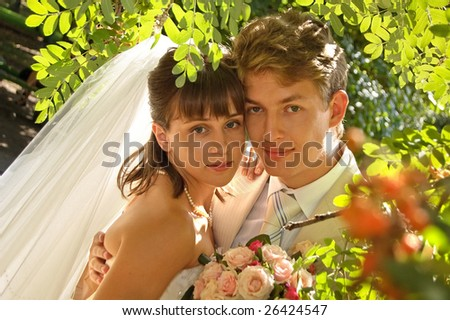 Groom with bride in the bushes - stock photo