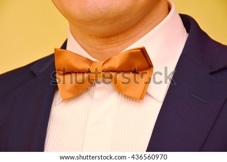 groom with brown bow tie - stock photo