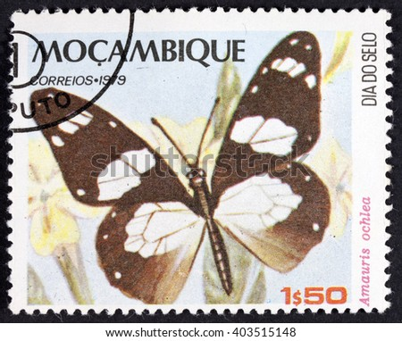 GROOTEBROEK ,THE NETHERLANDS - MARCH 31,2016 :  A stamp printed in Mozambique, shows  Butterflies, circa 1979 - stock photo