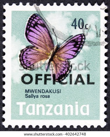 GROOTEBROEK ,THE NETHERLANDS - MARCH 30,2016 : a stamp printed in Tanzania shows African Snout Butterfly, Mwendakusi sallya rosa, Insect, circa 1973 - stock photo