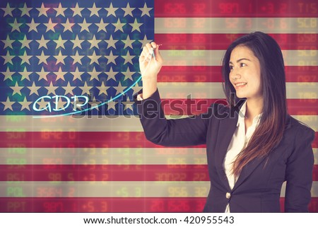 Gross Domestic Product (GDP) improvement concept. Businesswoman draw accelerating line of growing gdp.on USA Flag background.vintage color