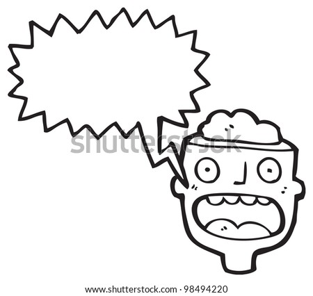 gross open head cartoon - stock photo