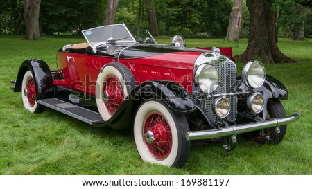 GROSSE POINTE SHORES, MI/USA - JUNE 16: A 1929 Auburn Boat-Tail Speedster at the EyesOn Design car show, on June 16, 2013, held at the Edsel and Eleanor Ford House, Grosse Pointe Shores, Michigan.
