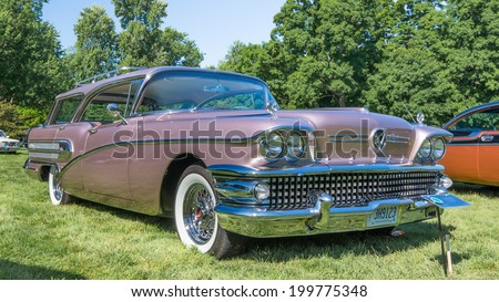 GROSSE POINTE SHORES, MI/USA - JUNE 15, 2014: A 1958 Buick Century Caballero car at the EyesOn Design car show, held at the Edsel and Eleanor Ford House.