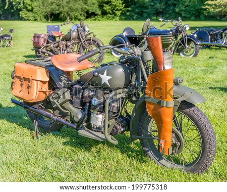 GROSSE POINTE SHORES, MI/USA - JUNE 15, 2014: A 1943 Indian Model 741 Military motorcycle at the EyesOn Design car show, held at the Edsel and Eleanor Ford House.