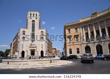 GROSSETO, ITALY - JULY 16: Square in Grosseto, Italy on July 16, 2012. Town is place of trial with captain of Costa Concordia Francesco Schettino. Ship ran aground on January 2012, causing 32 deaths.