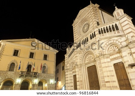 Grosseto (Tuscany, Italy), cathedral facade by night - stock photo