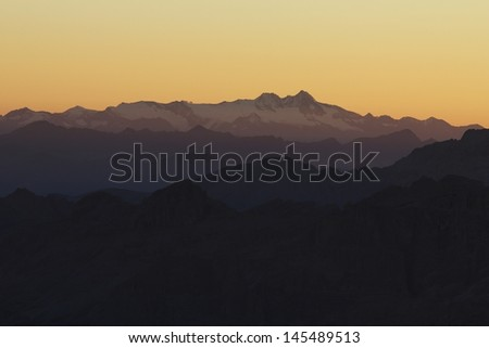 Grossglockner (Austria) seen from Marmolada Summit Italy Dolomites