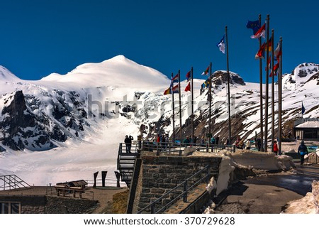 GROSSGLOCKNER HIGH ALPEN ROAD, AUSTRIA - MAY 04, 2014: Europe flags at high alpine road Grossglockner strasse in Austria