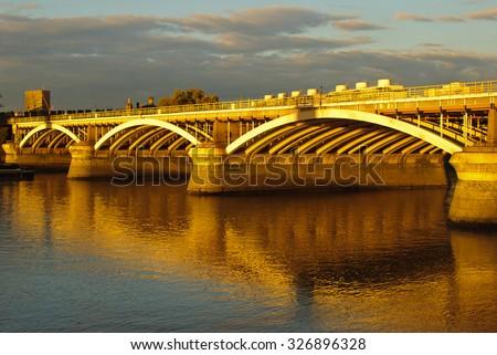 Grosvenor Railway Bridge River Thames Chelsea Pimlico Battersea London UK - stock photo