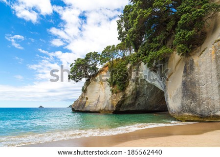 Grot in Cathedral cove, the Coromandel, New Zealand - stock photo