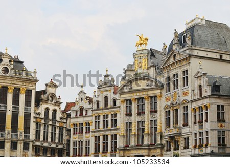 Grote Markt in Brussels at sundown and surrounding medieval buildings