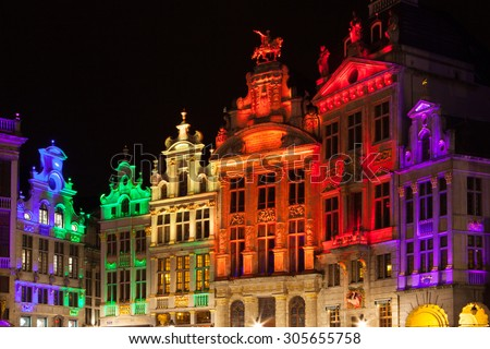 Grote Markt - The main square and Town hall of Brussels, Belgium - stock photo