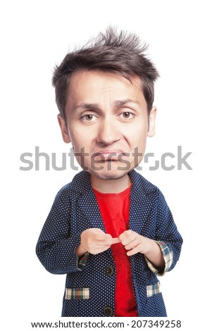 Grotesque portrait of a sad young man with a big had, isolated - stock photo