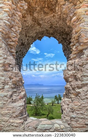 Grotto Catullus at the Lake Garda in Sirmione - stock photo