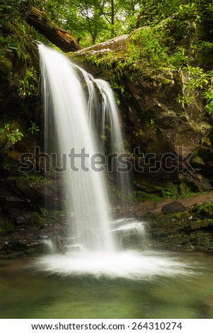 Grotto Fall at Great Smoky Mountain National Park - stock photo