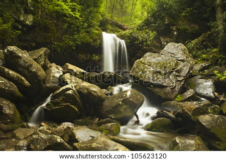 Grotto Falls - Great Smoky Mountain National Park - stock photo