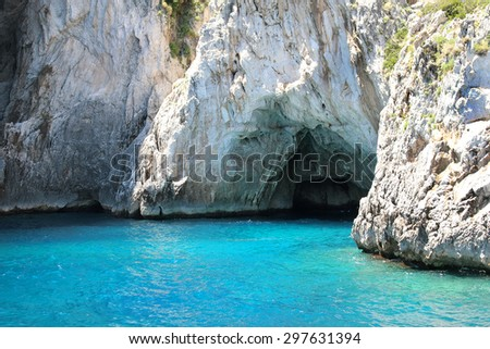 Grotto in Capri with crystal blue water