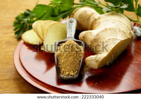 ground and fresh ginger traditional oriental spice - stock photo