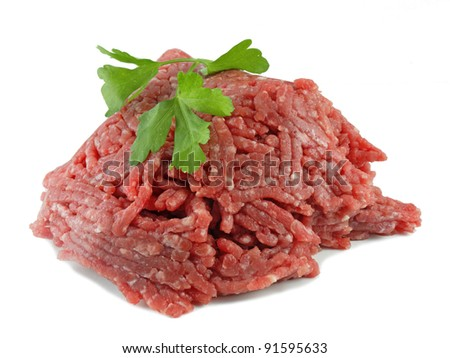 ground beef, meat on white background - stock photo