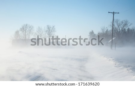 Ground blizzard with low visibility - stock photo