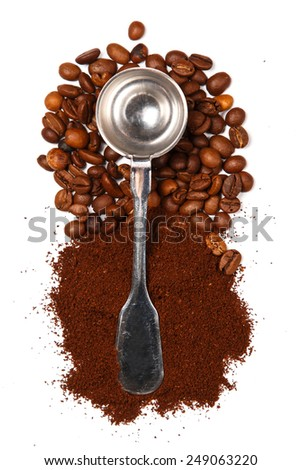 Ground coffee and beans  on white background - stock photo