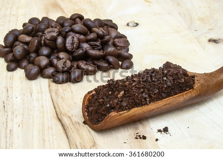 ground coffee and coffee beans - stock photo