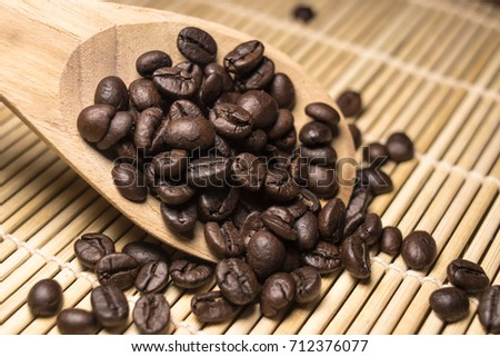 ground coffee and coffee beans isolated on wood background