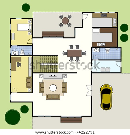 Ground Floor Plan Floorplan House Home Building Architecture Blueprint Layout - stock photo