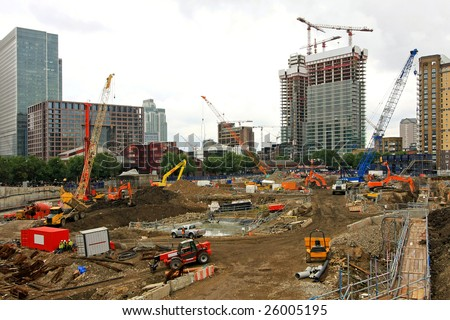 Ground level of new building construction site - stock photo