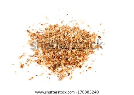 ground nutmeg isolated on white - stock photo