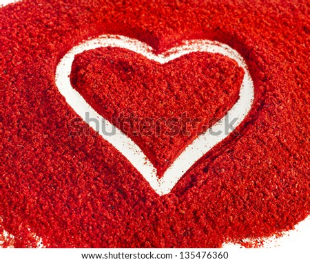 ground paprika with shapes heart sign on white background - stock photo
