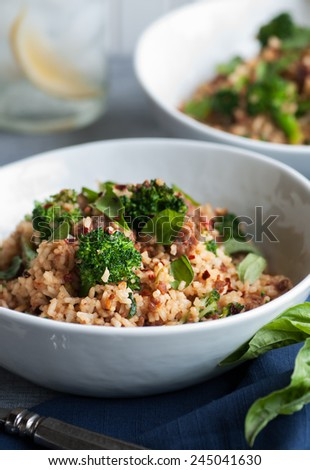Ground pork with broccoli and sweet sauce - stock photo