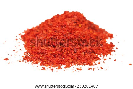 ground red chili pepper - paprika close up isolated on white background