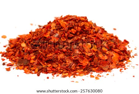 ground red chili pepper  paprika isolated on white background - stock photo