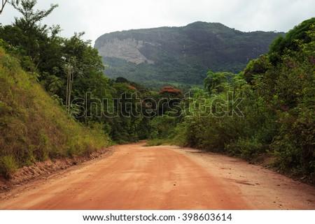 ground road through the mountains at the Brazil - stock photo
