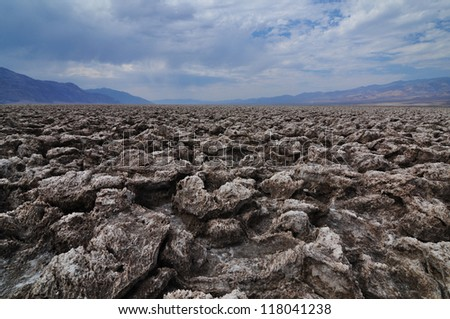Ground Salt Formations in Death Valley National Park. Devil's Golf Course - stock photo