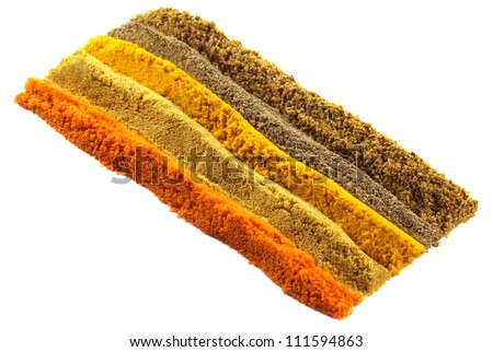 Ground spices over white background