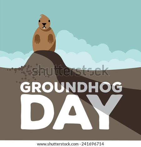 Groundhog Day design. stock illustration. - stock photo