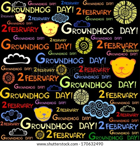 Groundhog Day. Seamless pattern.  Illustration  - stock photo