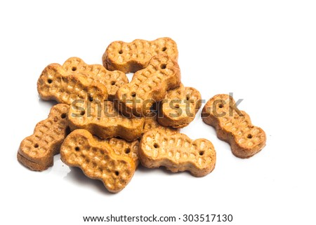 Groundnut shaped biscuit isolated in white