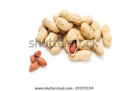 groundnut with shells on the white background